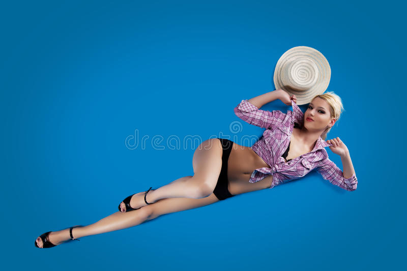 Download Pretty Woman Pin-up Style Lay On Blue Background Stock Image - Image of happiness, beautiful: 23875825