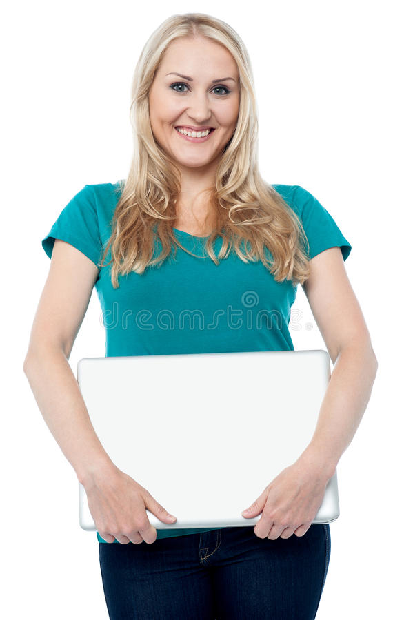 Pretty Woman Posing With Laptop Stock Images