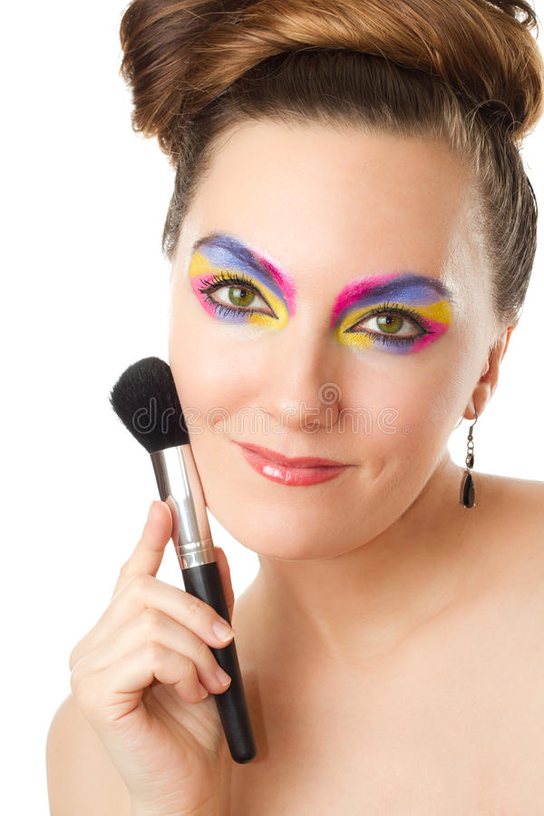 Pretty woman with professional make-up royalty free stock image