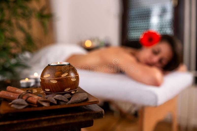Pretty woman in relaxing spa and wellness center. Resting before massage royalty free stock photos