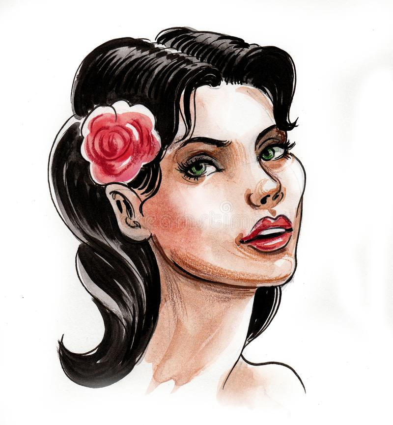 Pretty woman with a rose royalty free illustration