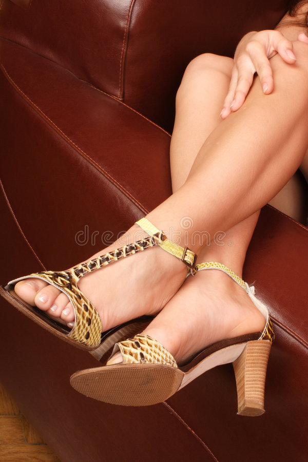 Pretty woman's legs royalty free stock images