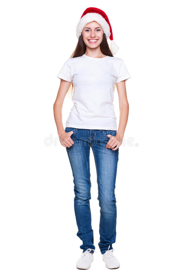 Download Pretty woman in santa hat stock image. Image of caucasian - 26244445