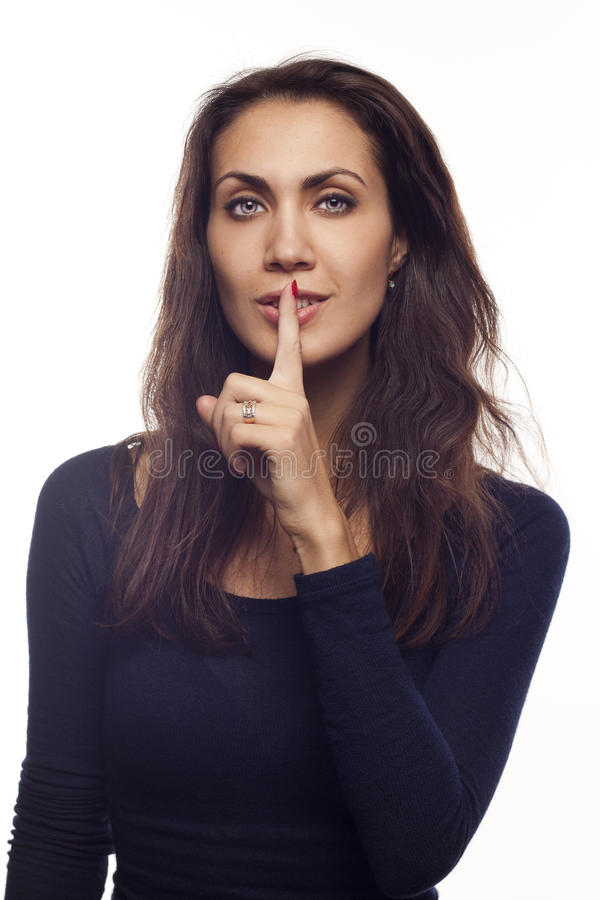 Pretty Woman Saying Shh Royalty Free Stock Photos