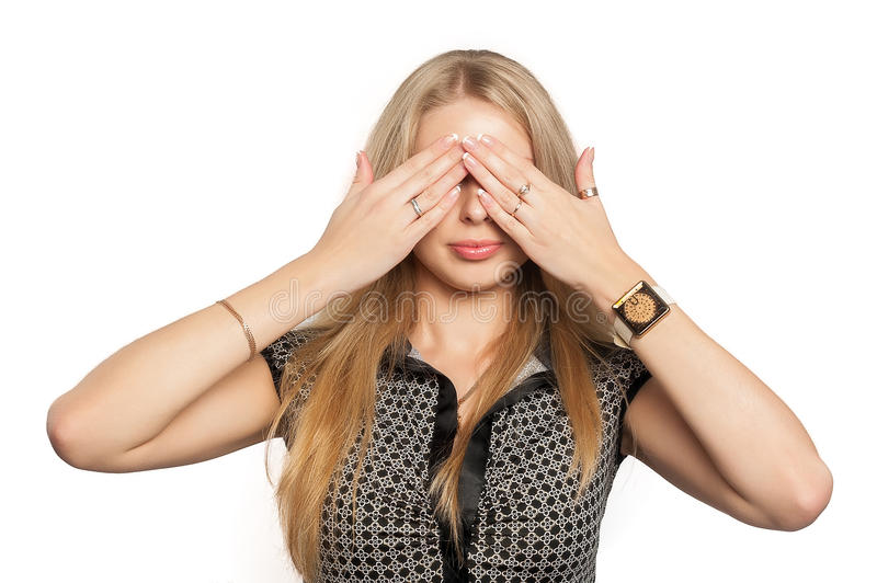 Pretty woman in See No Evil gesture royalty free stock images