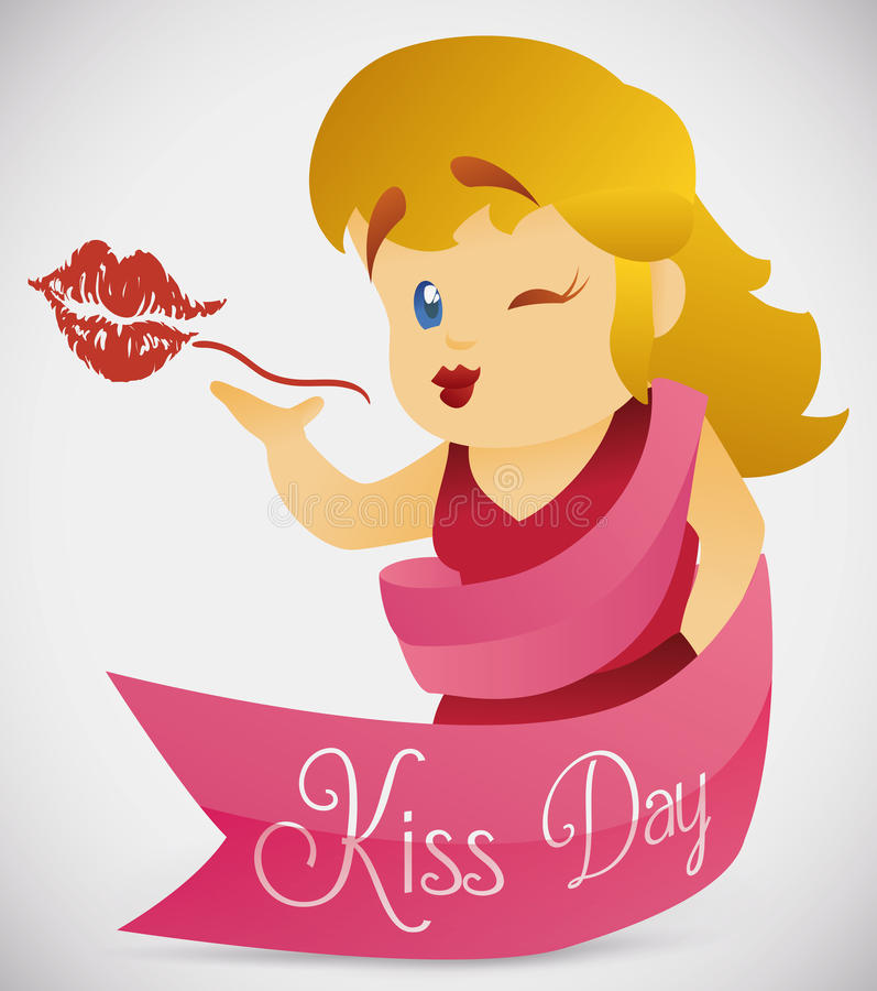 Pretty Woman Sending a Kiss, Vector Illustration royalty free stock image