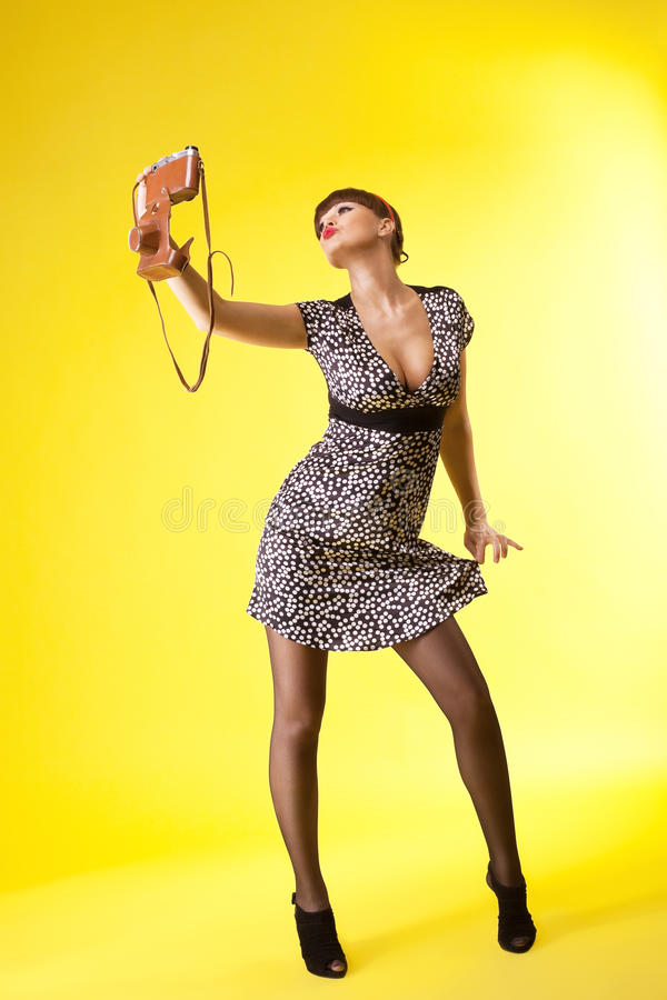 Download Pretty Woman Shoot On Old-style Photo Camera Stock Photo - Image: 19203606