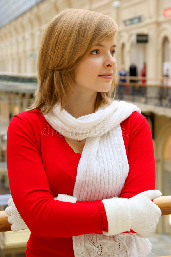 Pretty woman at the shop stock image