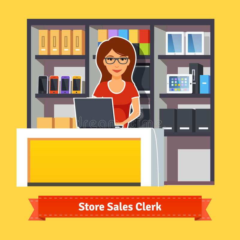 Pretty woman shop assistant royalty free illustration