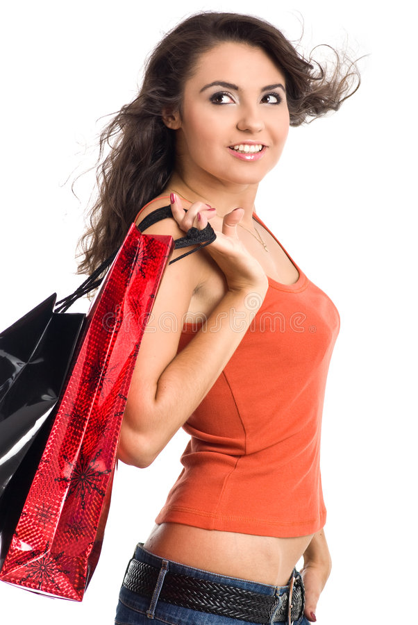 Pretty woman with shopping bag. Beautiful girl with shopping bag. studio isolated shoot royalty free stock image