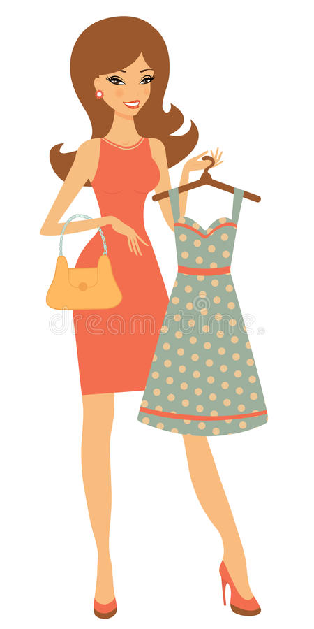Pretty woman shopping for dress vector illustration