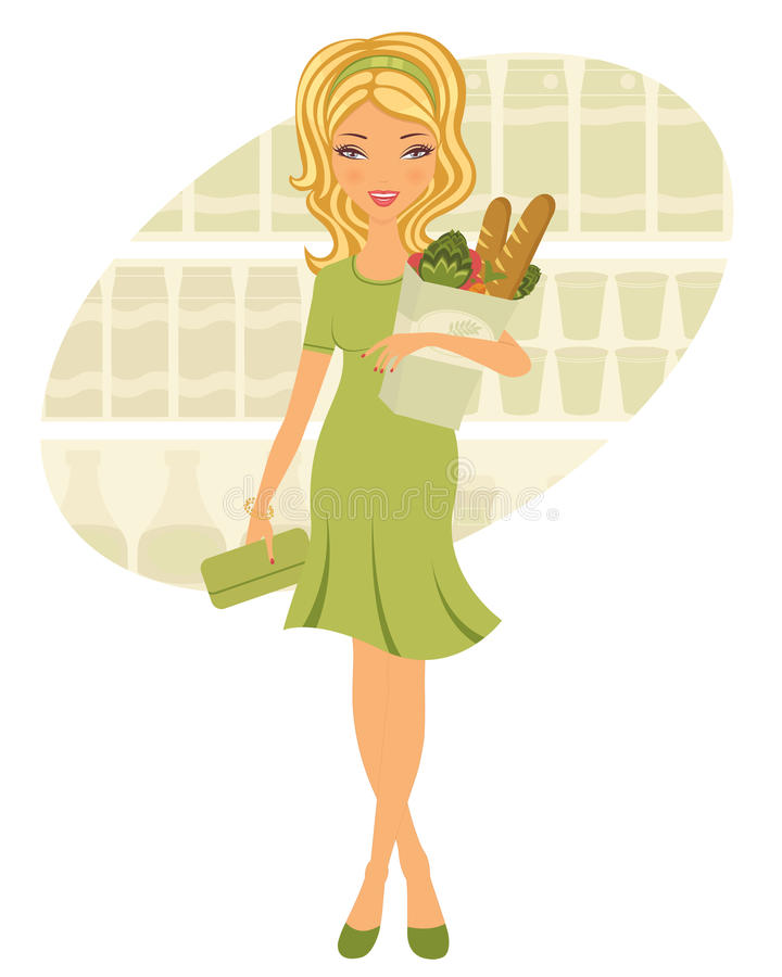Pretty woman shopping for grocery stock illustration