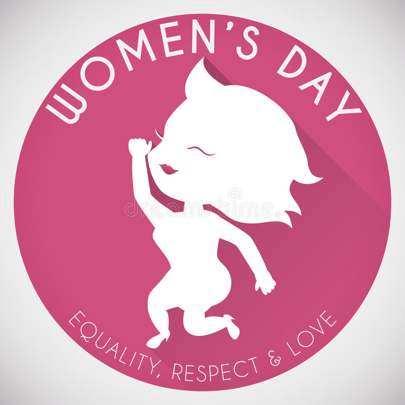 Pretty Woman Silhouette in Rounded Button for Women's Day, Vector Illustration stock photos