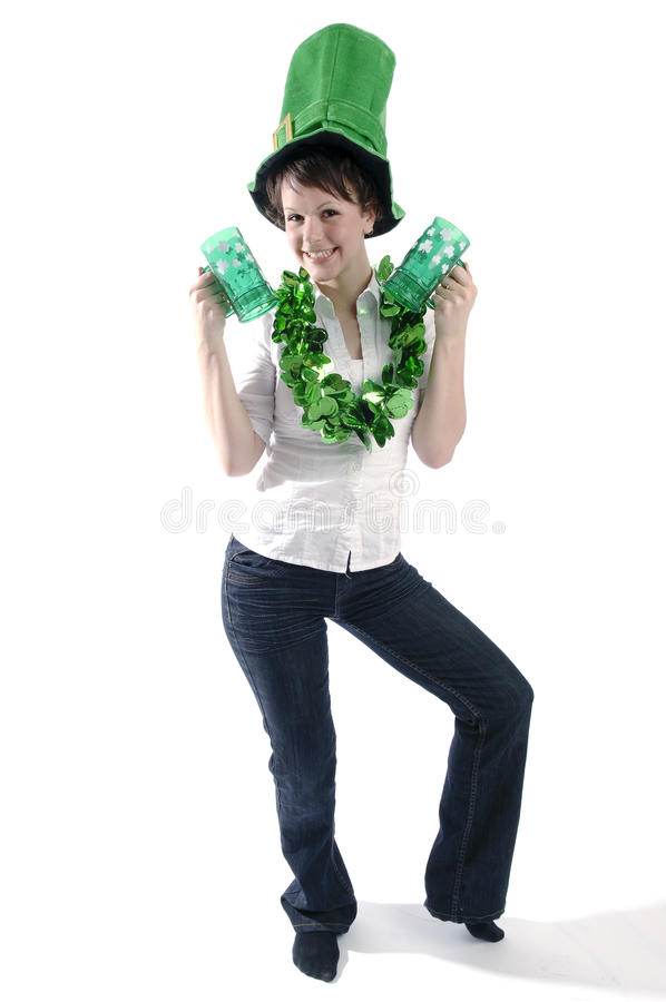 Download Pretty Woman On St. Patrick's Day Stock Photo - Image of golden, flexible: 18514224