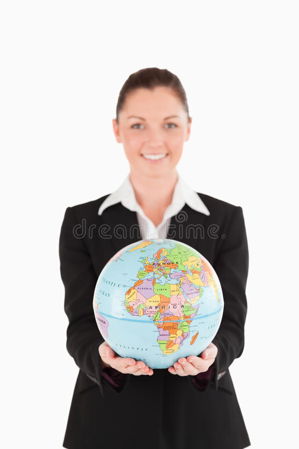 Pretty Woman In Suit Holding A Globe Stock Image