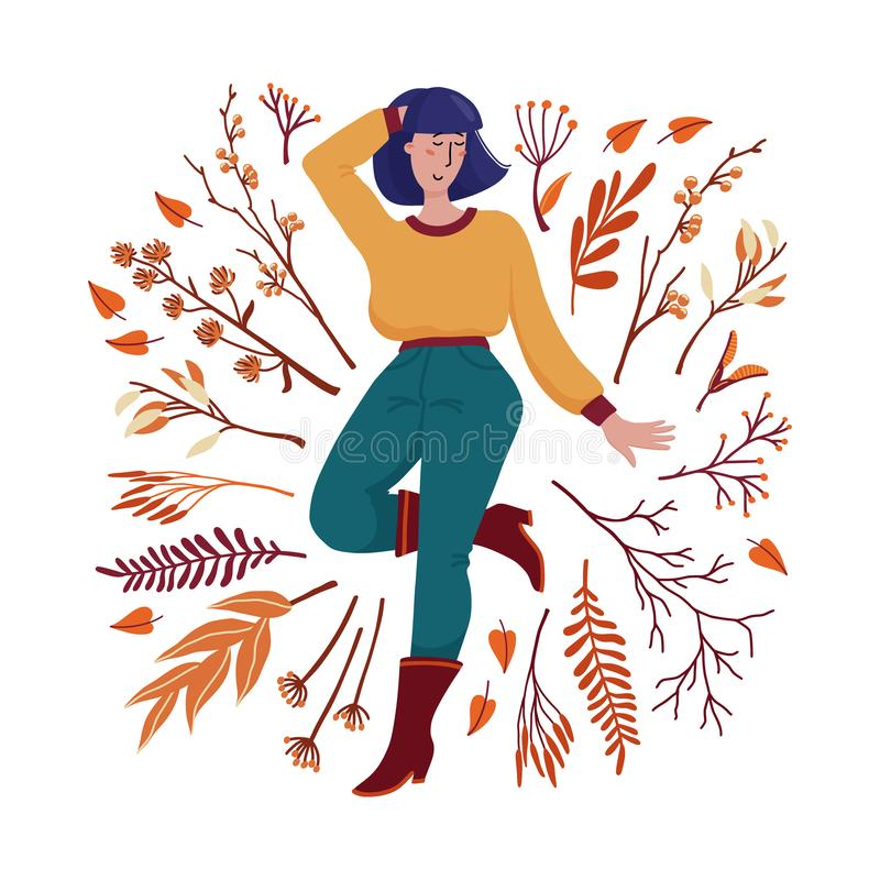 Pretty woman in sweater surrounded by fall leaves stock illustration