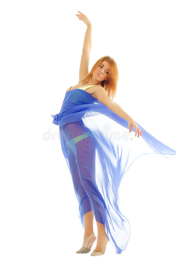 Download Pretty Woman In Swimsuit With Blue Svarf Stock Photo - Image of flexibility, running: 20548808