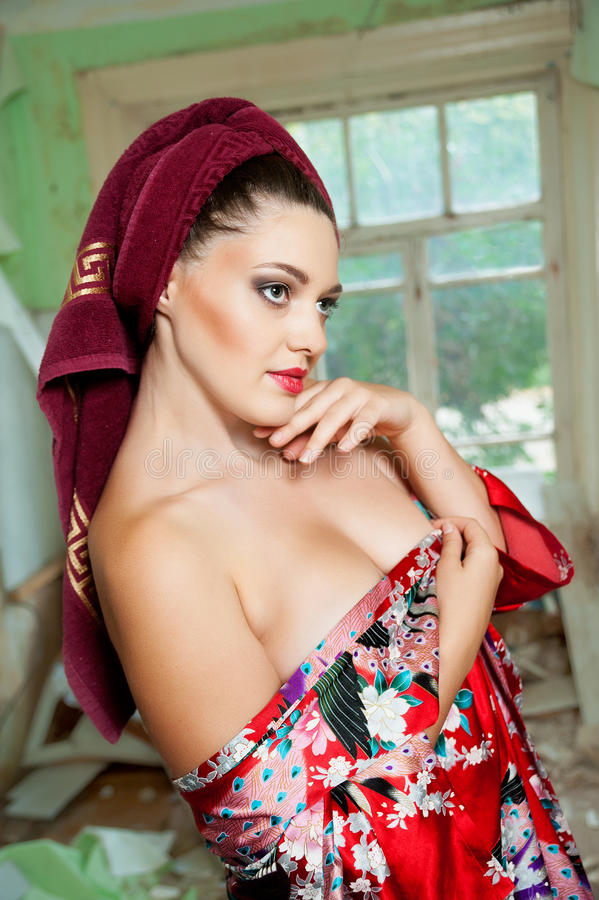 Download Pretty woman with a towel stock photo. Image of luxury - 33493936