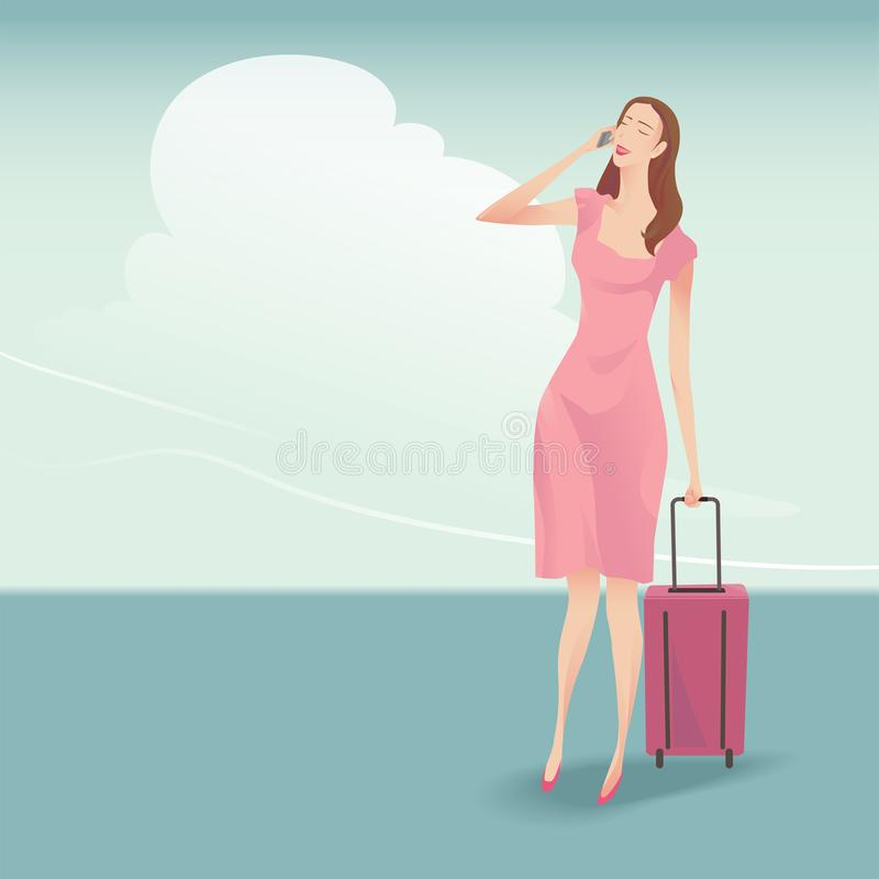 The pretty woman traveller vector illustration