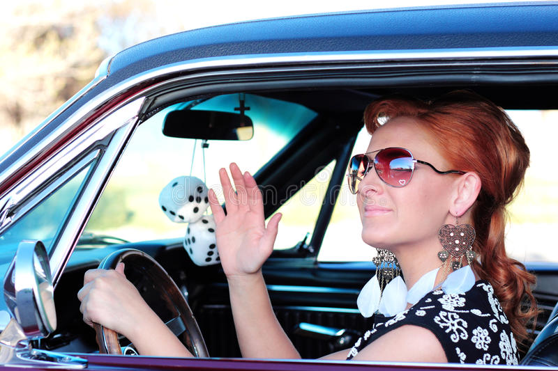 Download Pretty Woman Waving Hello stock image. Image of 1960 - 24181687