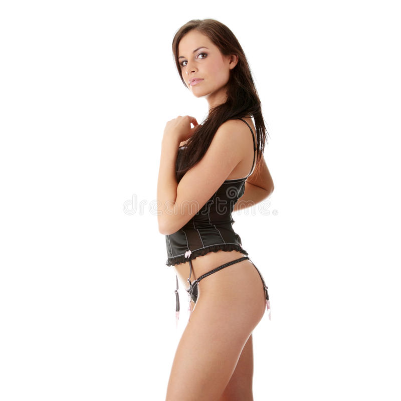 Pretty Woman Wearing Black Lingerie Stock Photos