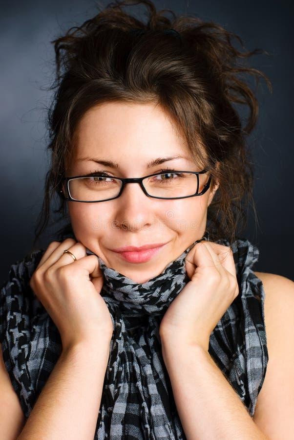 Pretty woman wearing glasses stock photo