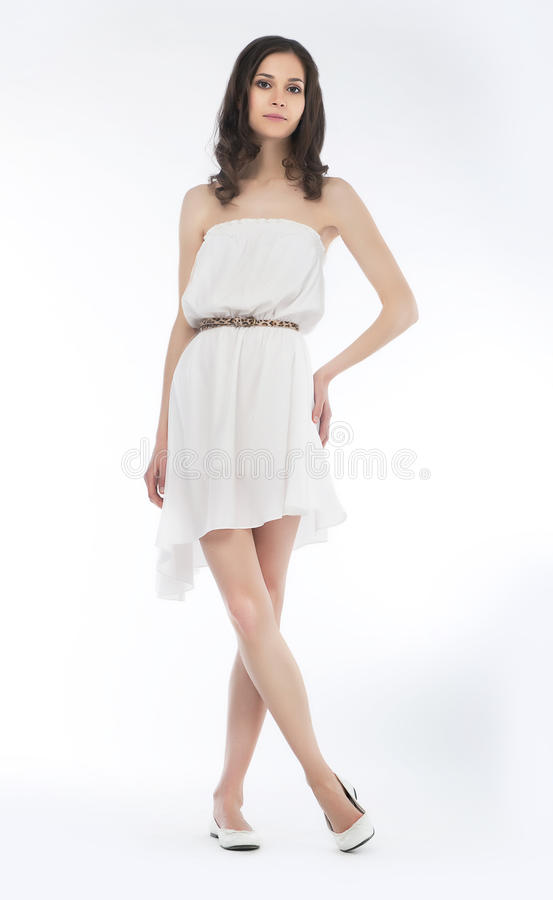 Download Pretty Woman In White Dress Isolated - Studio Shot Stock Image - Image: 24939933