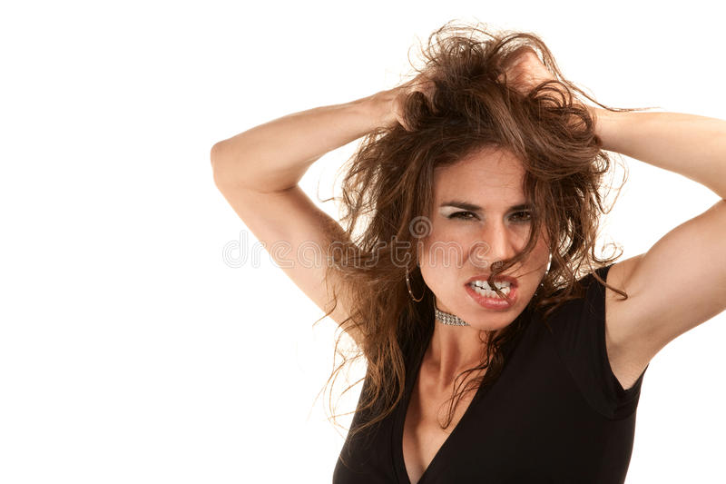 Pretty woman with wild hair royalty free stock photo