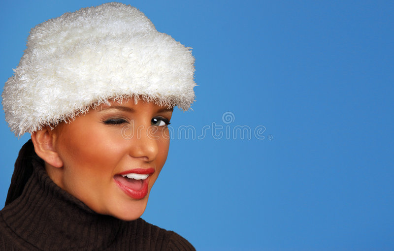 Pretty Woman Winking Royalty Free Stock Photos