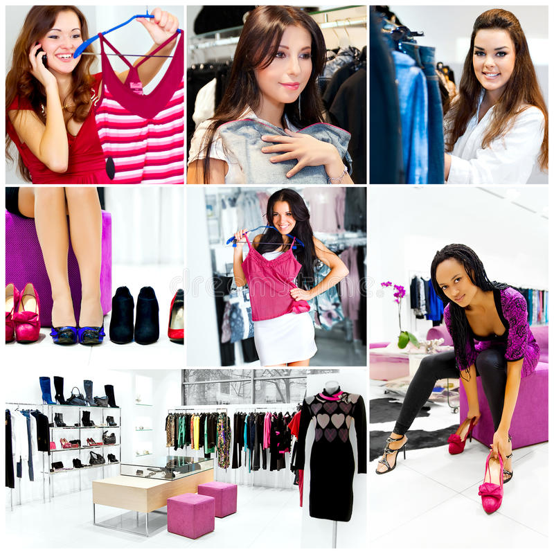 Pretty womans in the shop royalty free stock photo