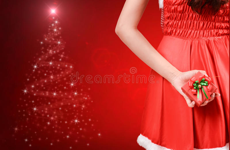 Pretty women in santa outfit stock photos