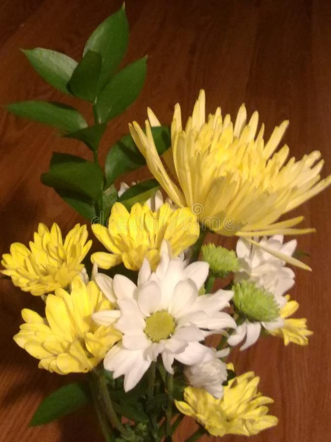 Pretty Yellow Florals. Pretty yellow and white flower arrangement royalty free stock photos