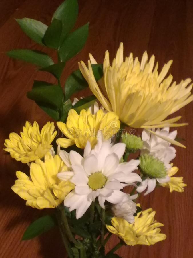 Pretty Yellow Florals. Pretty yellow and white flower arrangement stock image