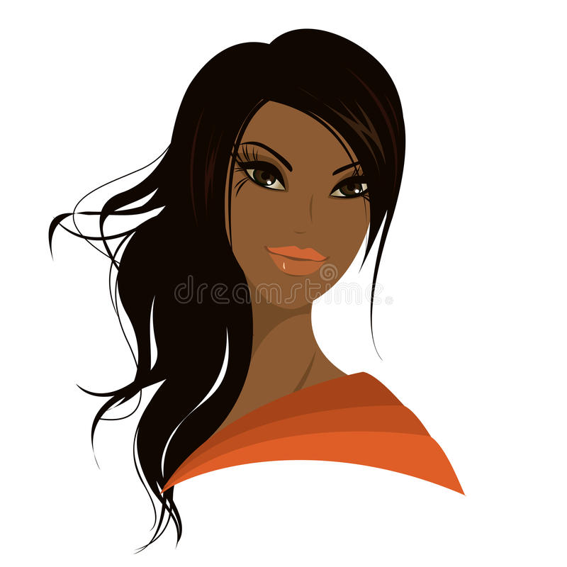 Pretty young african american woman, Vector illustration. Pretty young african american woman, Vector illustration royalty free illustration