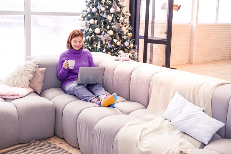 Pretty young beaming girl in a violet sweater looking wonderful stock photography