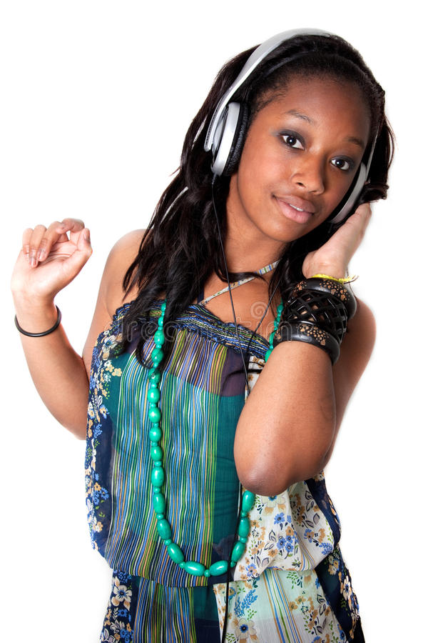 Free Pretty Young Black Girl Listening Music Stock Image - 18806801