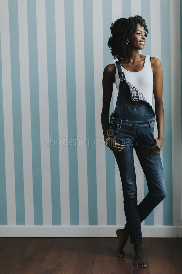 Young black woman int he room royalty free stock photography