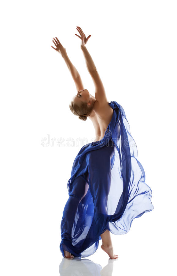 Pretty Young Blonde Dancing With Blue Cloth Royalty Free Stock Images