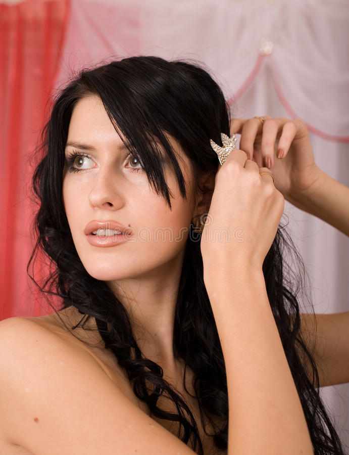 Pretty Young Brunette Bride Stock Images