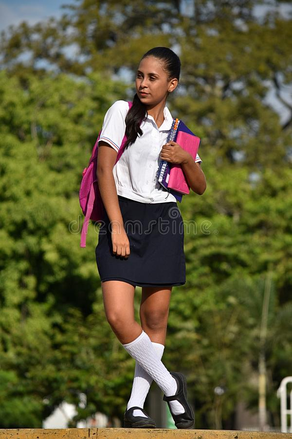 Standing Catholic Female Student. A pretty young Colombian teen girl royalty free stock photography