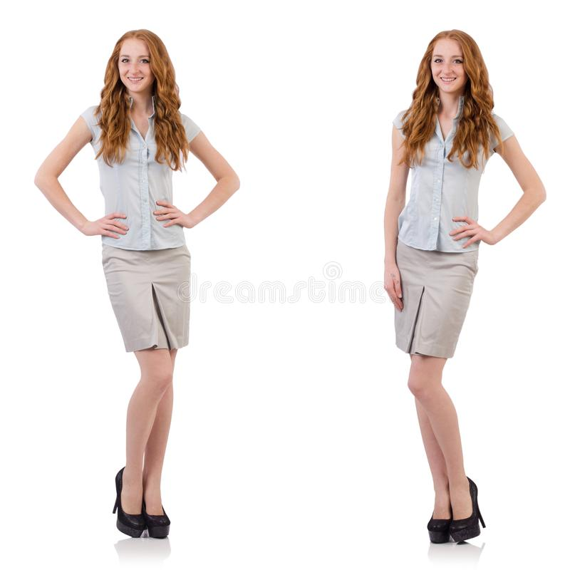 The pretty young employee isolated on white stock image