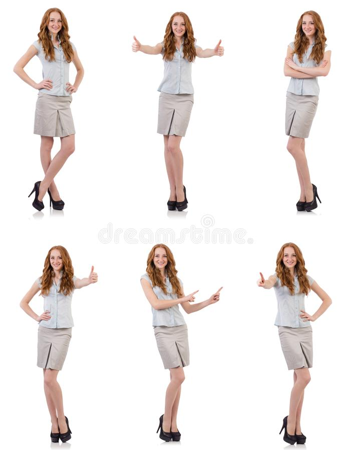 The pretty young employee isolated on white royalty free stock image
