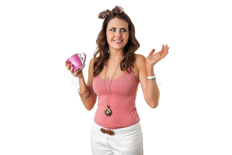 Download Pretty Young Female Holding A Cup Stock Image - Image: 25580605