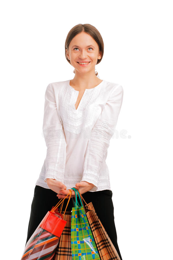 Download Pretty Young Female Holding Her Shopping Bags Stock Image - Image: 12661675
