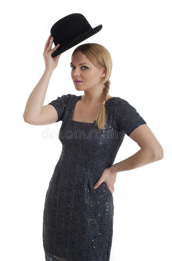 Download Pretty Young Female In Retro 60s Style And Bowler Stock Photos - Image: 22117173
