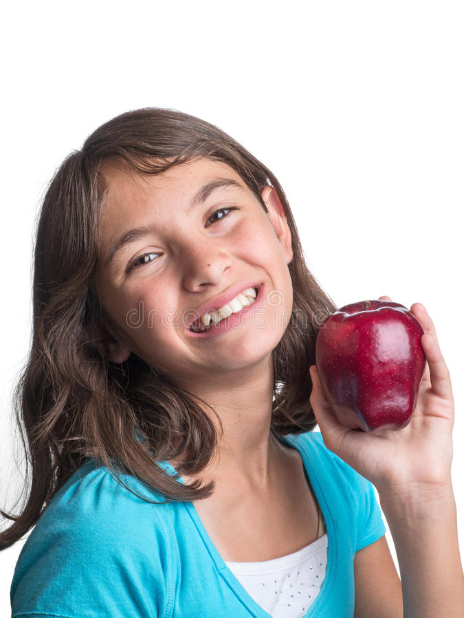 Download Pretty Young Girl With Apple Stock Image - Image: 25391571