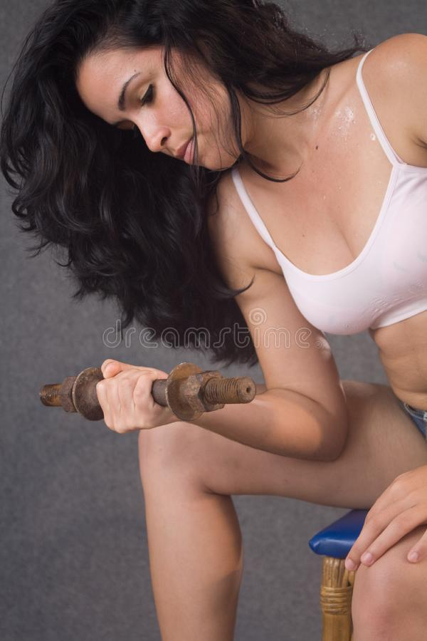 Download Pretty Young Girl Doing Fitness Stock Image - Image of caucasian, health: 8761059