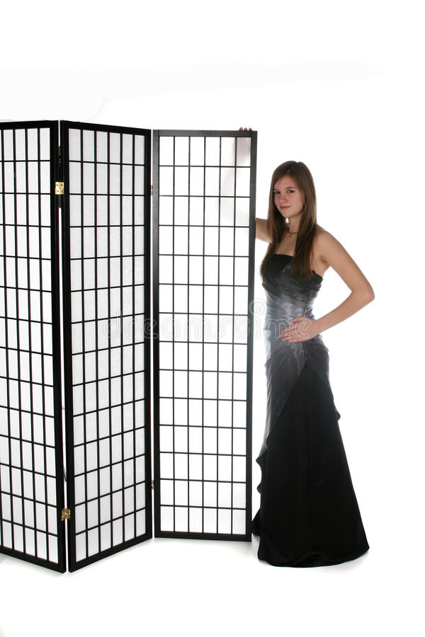 Pretty Young Girl In Formal Gown Next To Screen Stock Photo