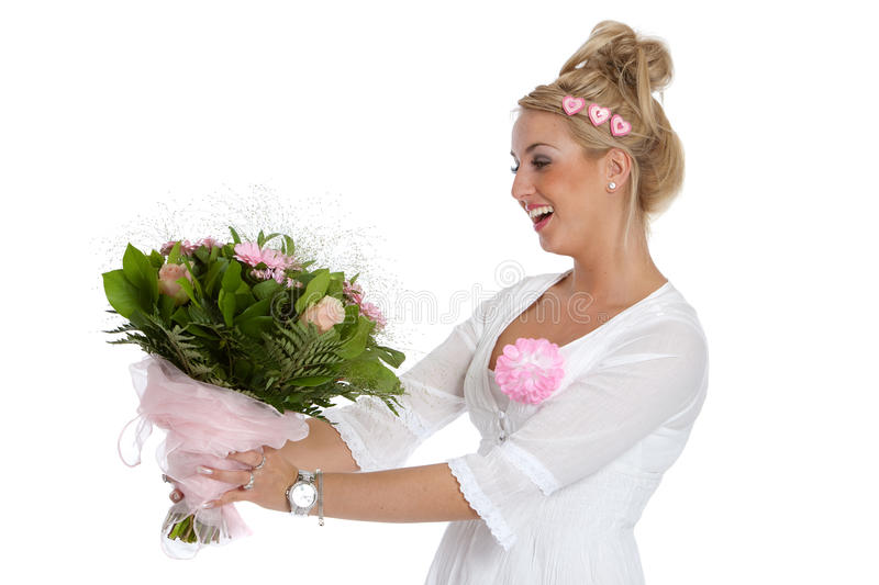 Download Pretty Young Girl Getting Flowers Stock Photo - Image: 11554214