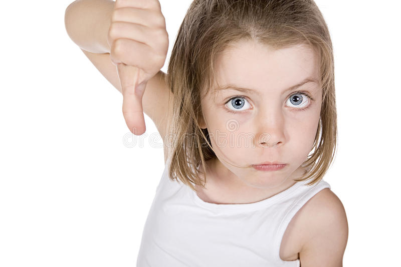 Pretty Young Girl with her Thumb Down stock photography